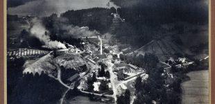 Flygfoto över Fengersfors från 30-talet